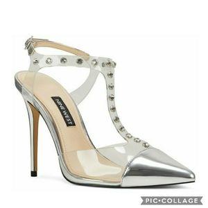 Nib! Nine west galena silver rhinestone heels 6.5